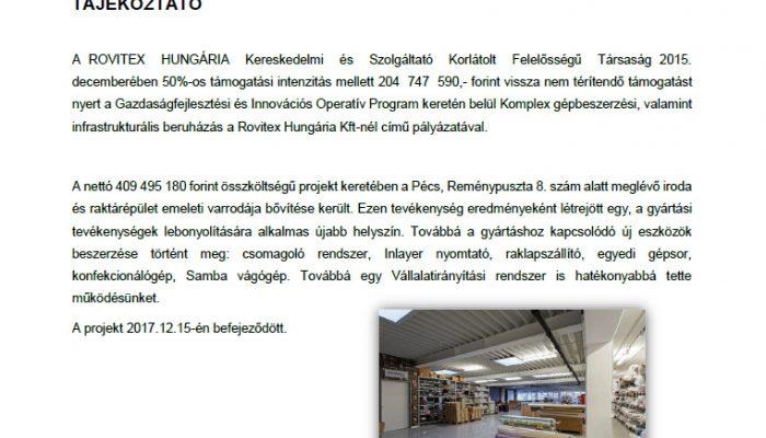 Komplex gépbeszerzési, valamint infrastrukturális beruházás a Rovitex Hungária Kft-nél>