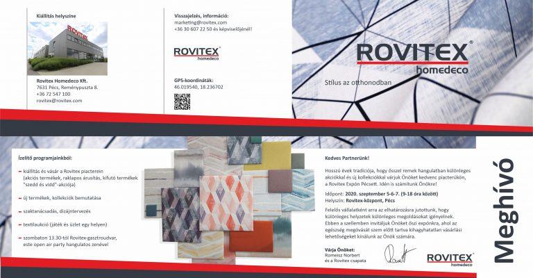 Rovitex Expo 2020 – őszi kiállítás és vásár központunkban>